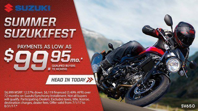 Suzuki Suzukifest Sportbike and Standard Motorcycle Financing as Low as 0% APR for 36 Months or Customer Cash Offer
